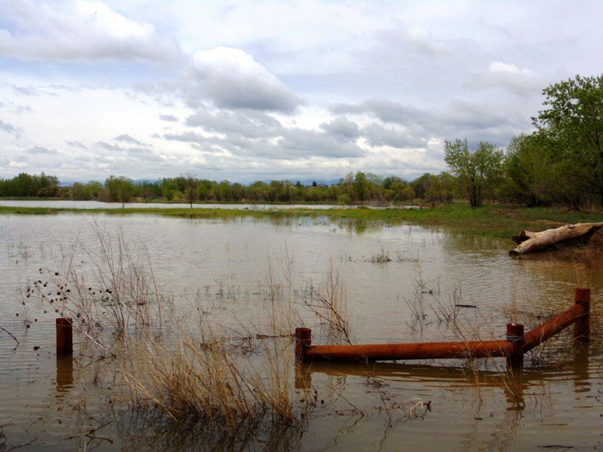 A photo from 2013 illustrates the flooding at St. Vrain State Park. Photo by Scott Reffel/CPW.