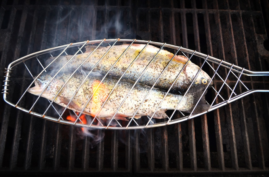 A fish basket makes grilling trout a breeze.