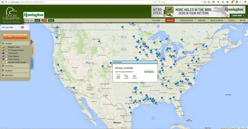 Ducks Unlimited Waterfowl Migration Map.